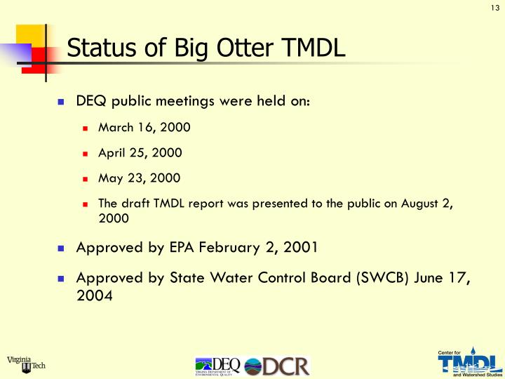Status of Big Otter TMDL