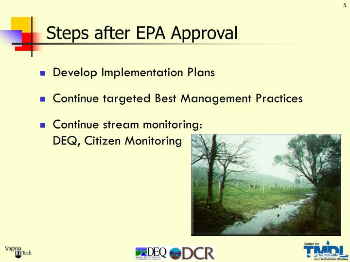 Steps after EPA Approval
