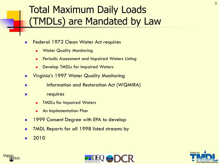 Total Maximum Daily Loads               (TMDLs) are Mandated by Law