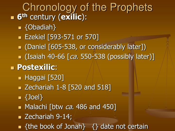 Chronology of the Prophets