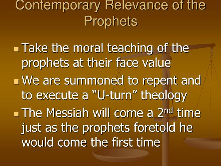 Contemporary Relevance of the Prophets