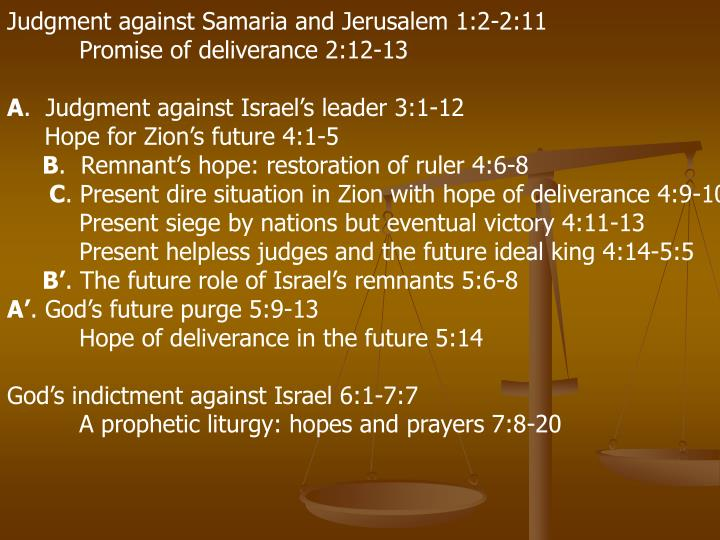 Judgment against Samaria and Jerusalem 1:2-2:11