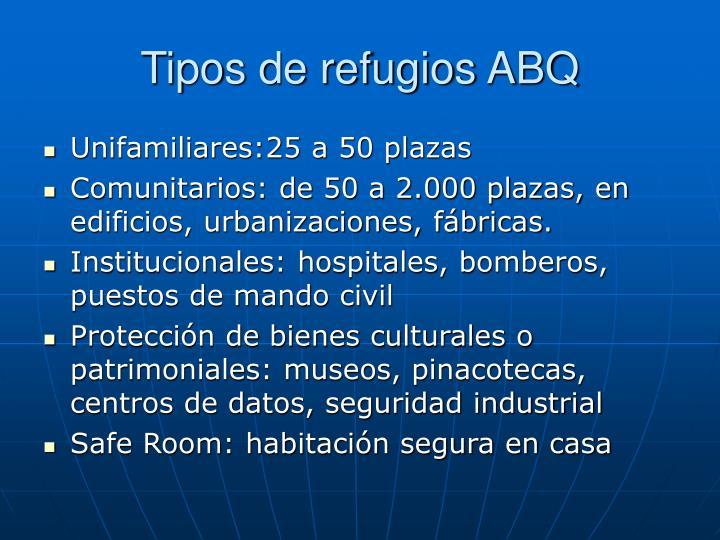 Tipos de refugios ABQ