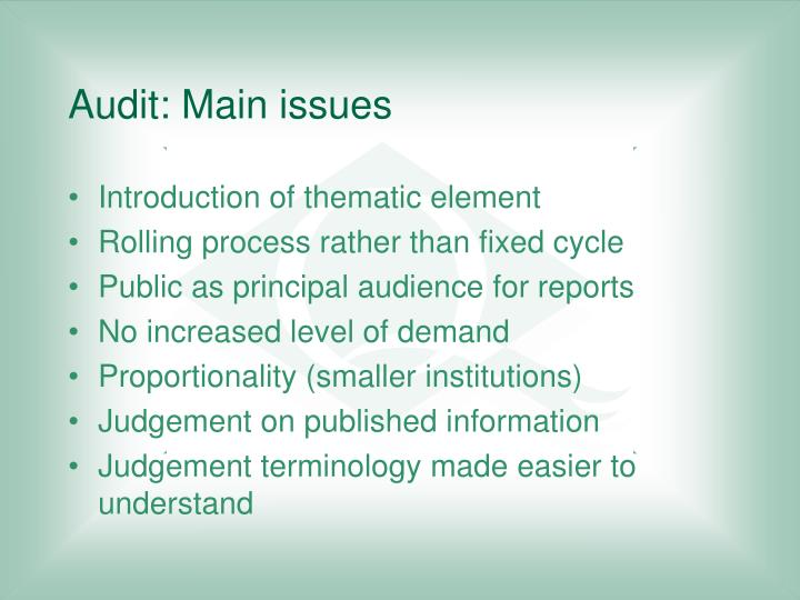 Audit: Main issues