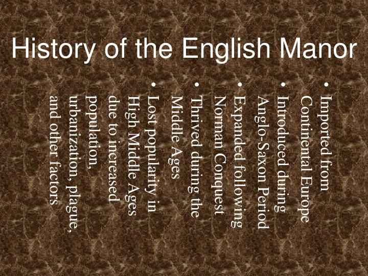 History of the English Manor