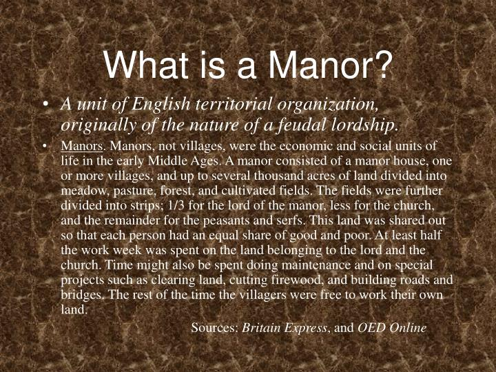 What is a manor