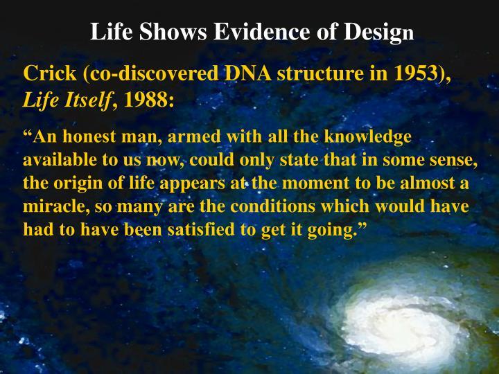 Life Shows Evidence of Desig