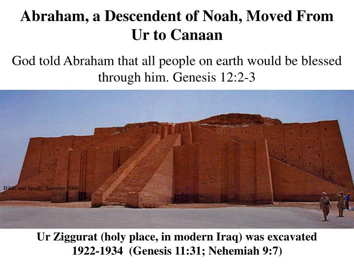 Abraham, a Descendent of Noah, Moved From Ur to Canaan
