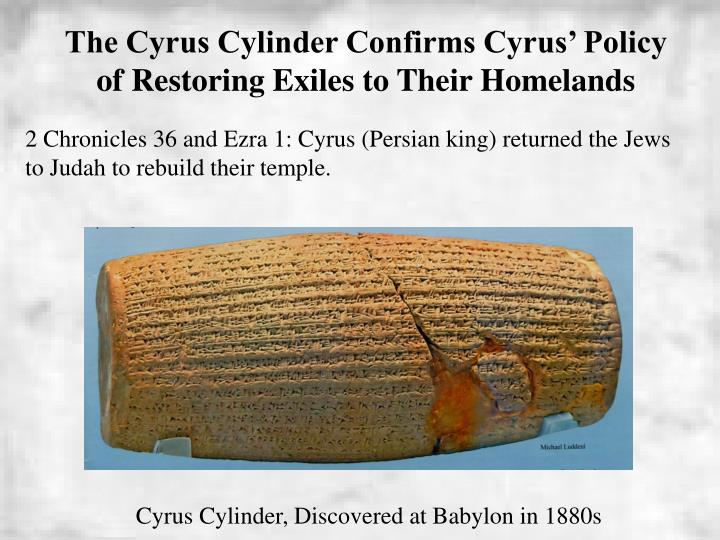 The Cyrus Cylinder Confirms Cyrus' Policy of Restoring Exiles to Their Homelands