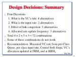 design decisions summary