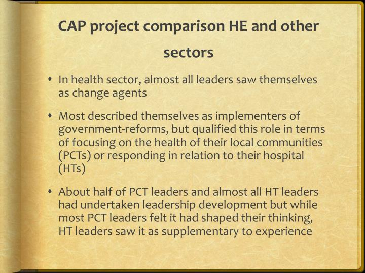 CAP project comparison HE and other sectors