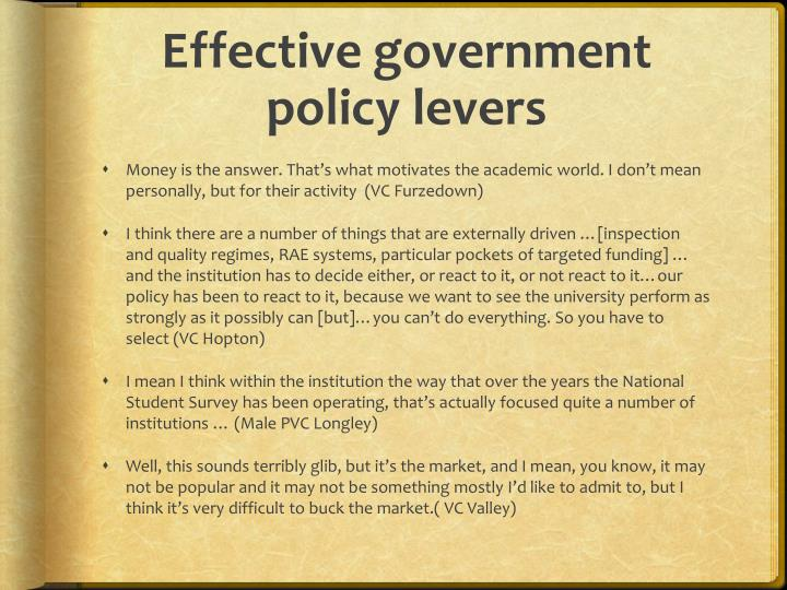 Effective government policy levers