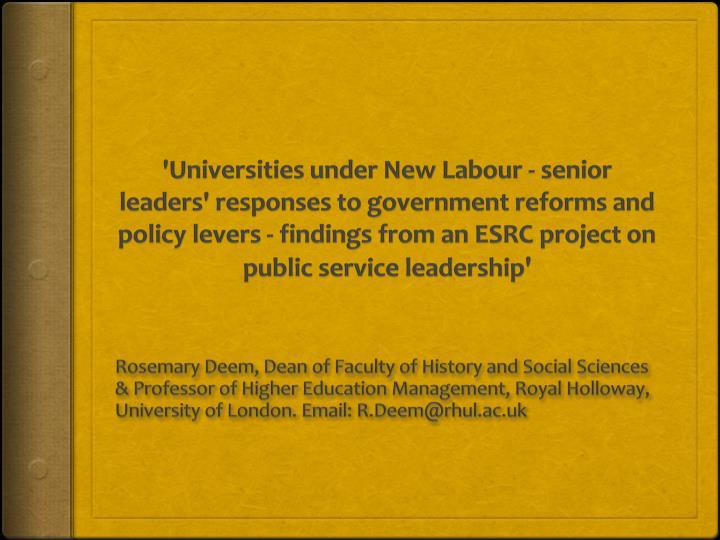 'Universities under New
