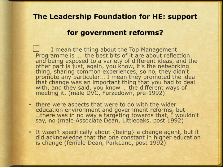 The Leadership Foundation for HE: support for government reforms?