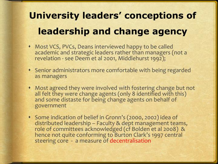 University leaders' conceptions of leadership and change agency