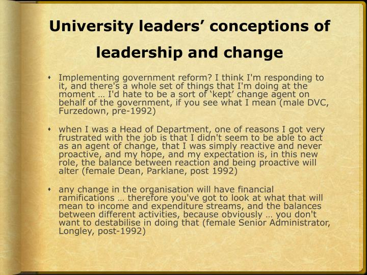 University leaders' conceptions of leadership and change