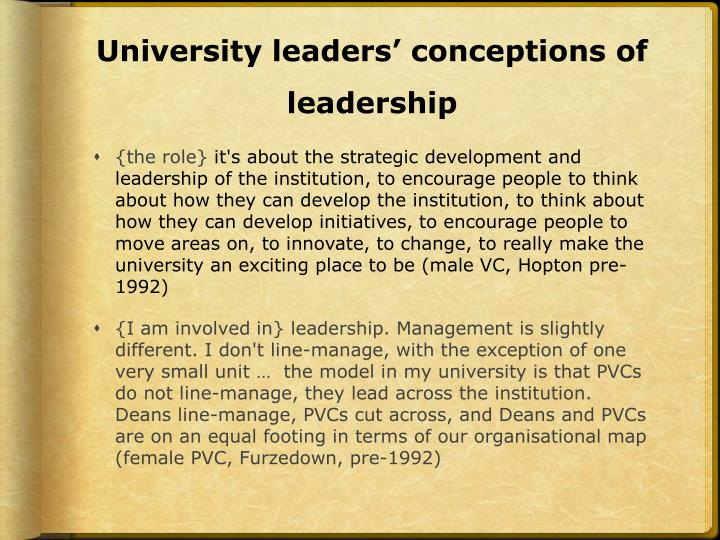 University leaders' conceptions of leadership