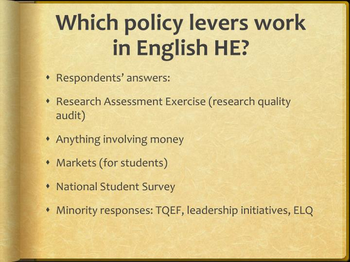 Which policy levers work in English HE?