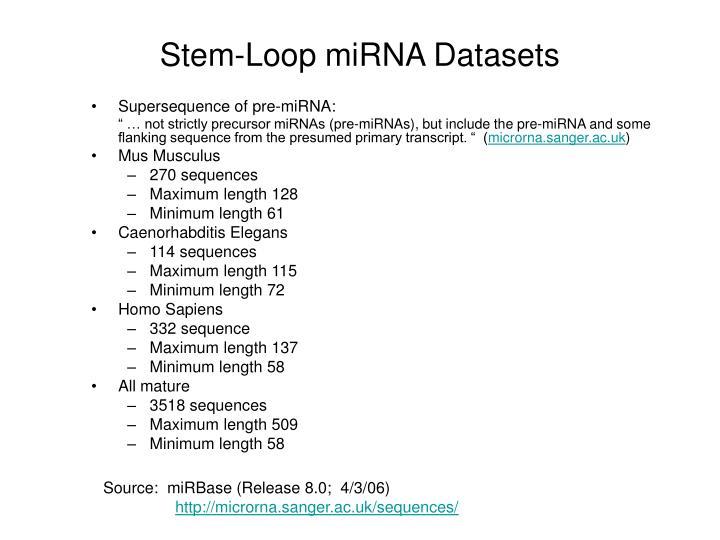 Stem-Loop miRNA Datasets