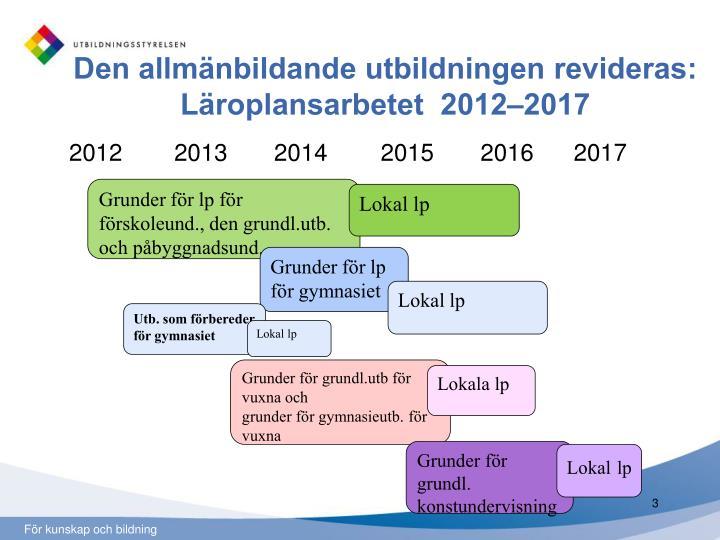 Den allmänbildande utbildningen revideras: Läroplansarbetet  2012–2017