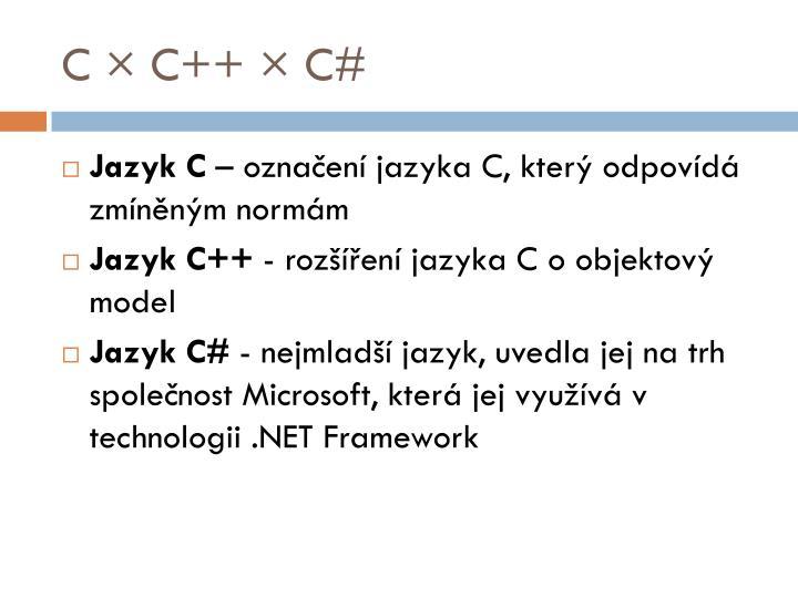 C × C++ × C#