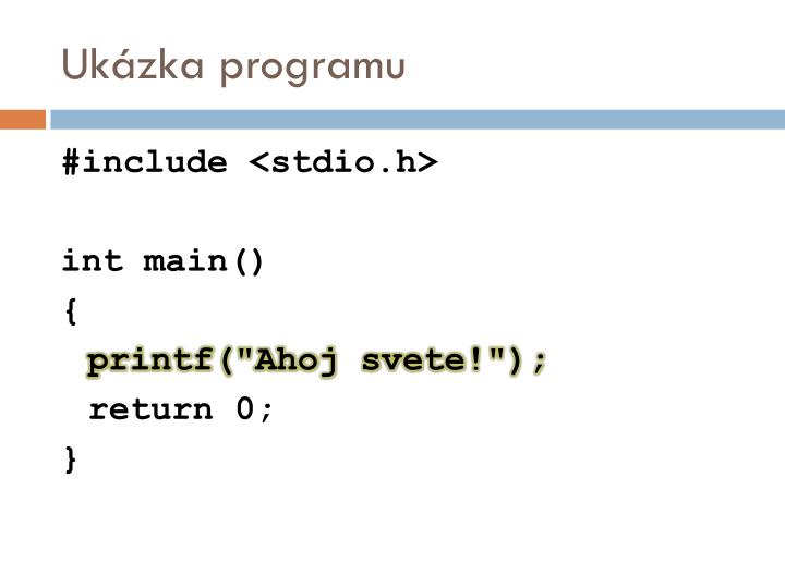 Ukázka programu