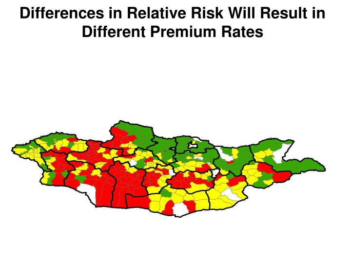 Differences in Relative Risk Will Result in Different Premium Rates