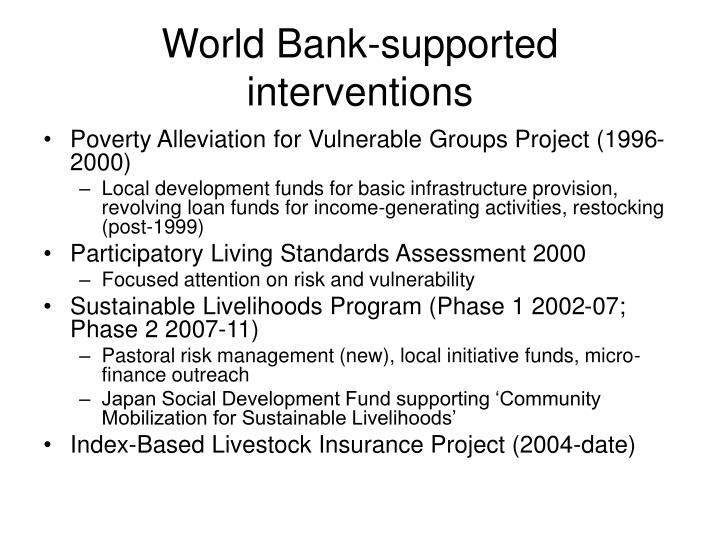 World Bank-supported interventions