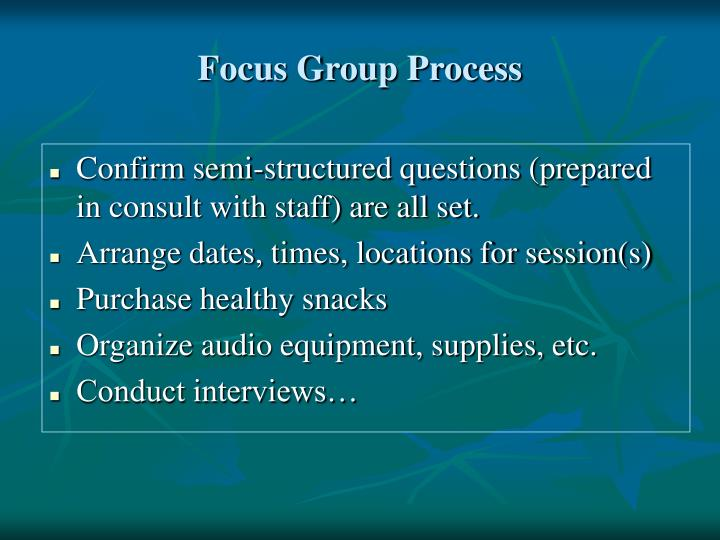 Focus Group Process