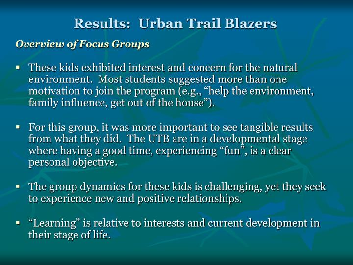 Results:  Urban Trail Blazers