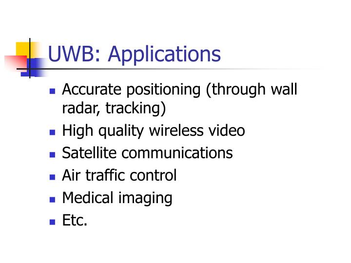 UWB: Applications