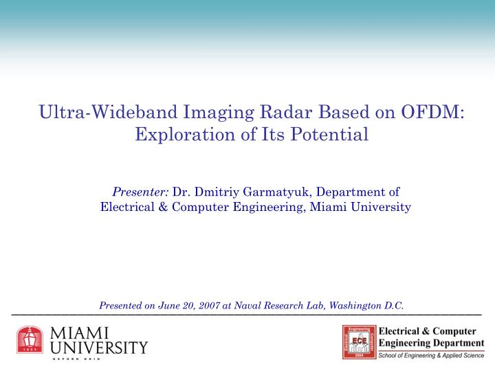 Ultra wideband imaging radar based on ofdm exploration of its potential