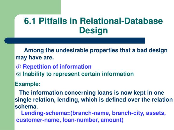 6.1 Pitfalls in Relational-Database Design
