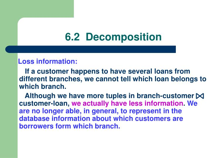 If a customer happens to have several loans from different branches, we cannot tell which loan belongs to which branch.