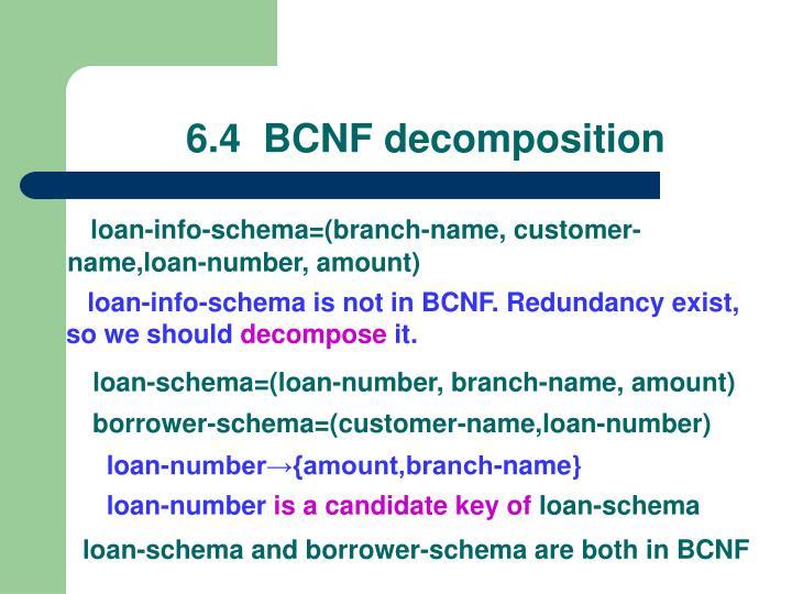 6.4  BCNF decomposition