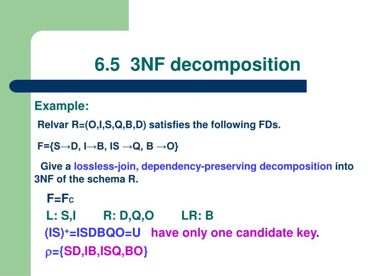 6.5  3NF decomposition