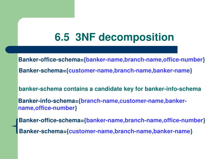 6.5  3NF decomposition