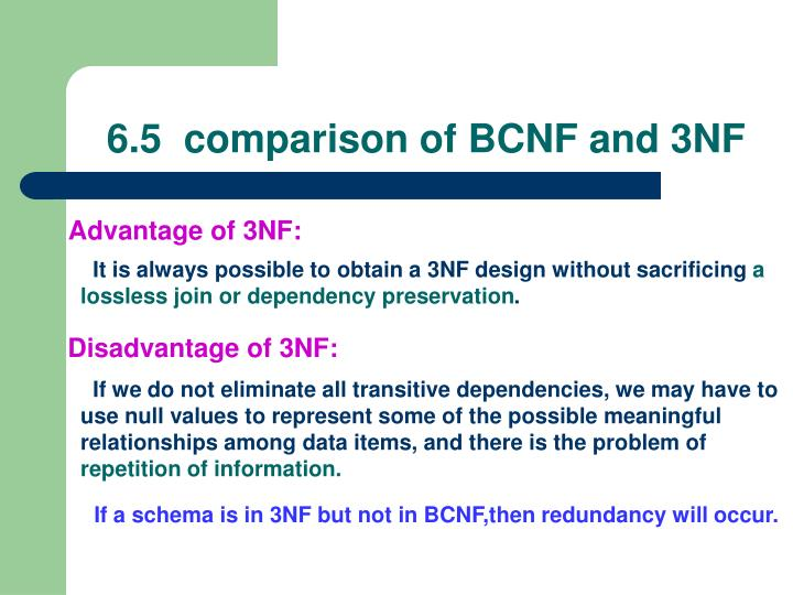 6.5  comparison of BCNF and 3NF