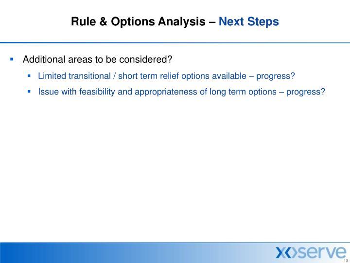 Rule & Options Analysis –