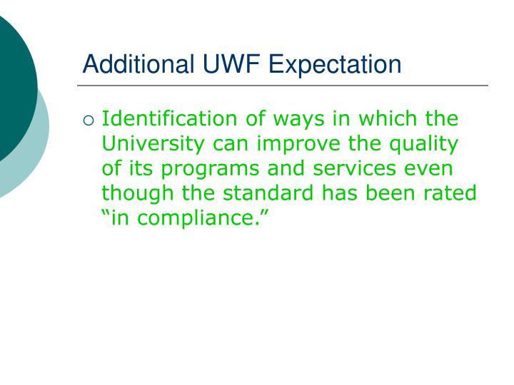 Additional UWF Expectation