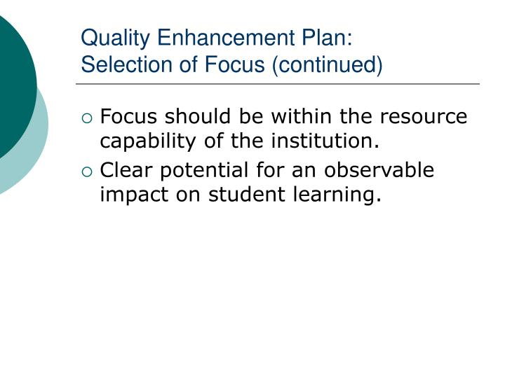 Quality Enhancement Plan: