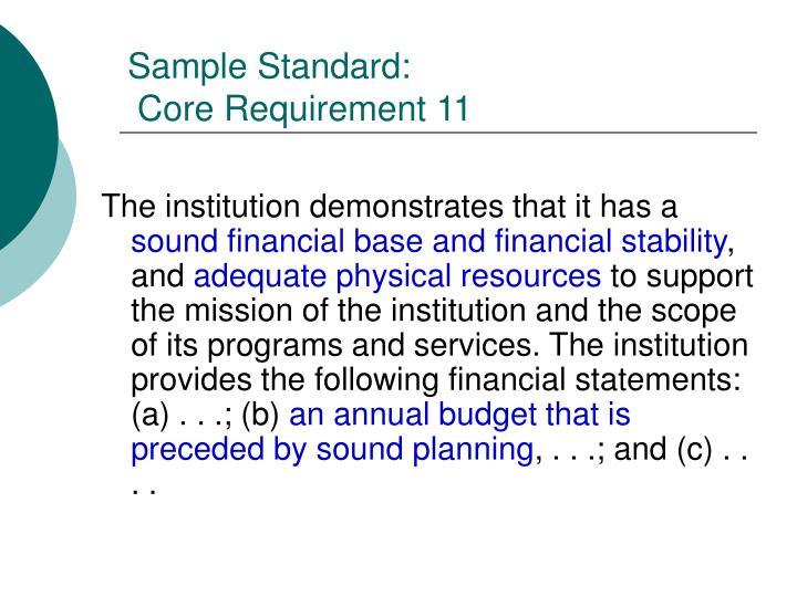 Sample Standard: