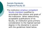 sample standards programs faculty 20