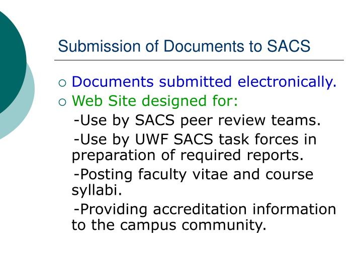 Submission of Documents to SACS