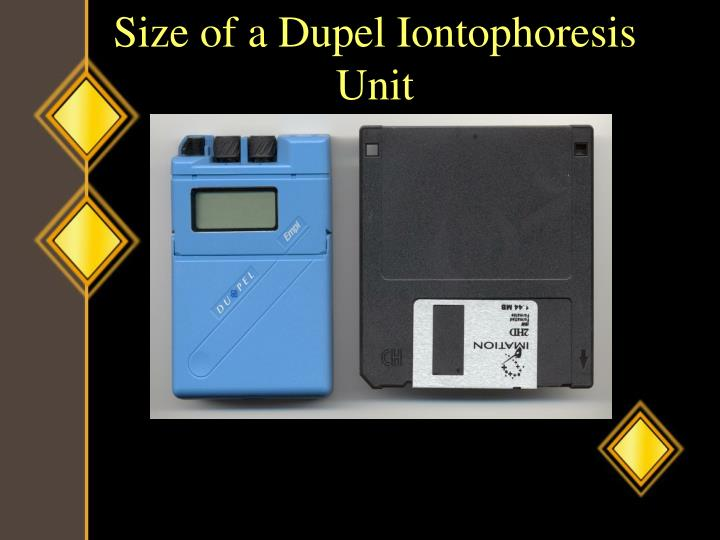 Size of a Dupel Iontophoresis Unit