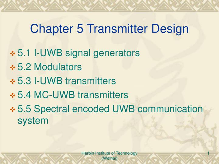 Chapter 5 transmitter design