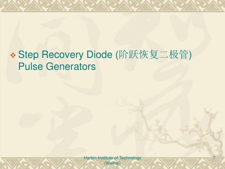 Step Recovery Diode (
