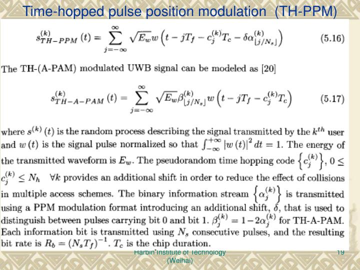 Time-hopped pulse position modulation  (TH-PPM)