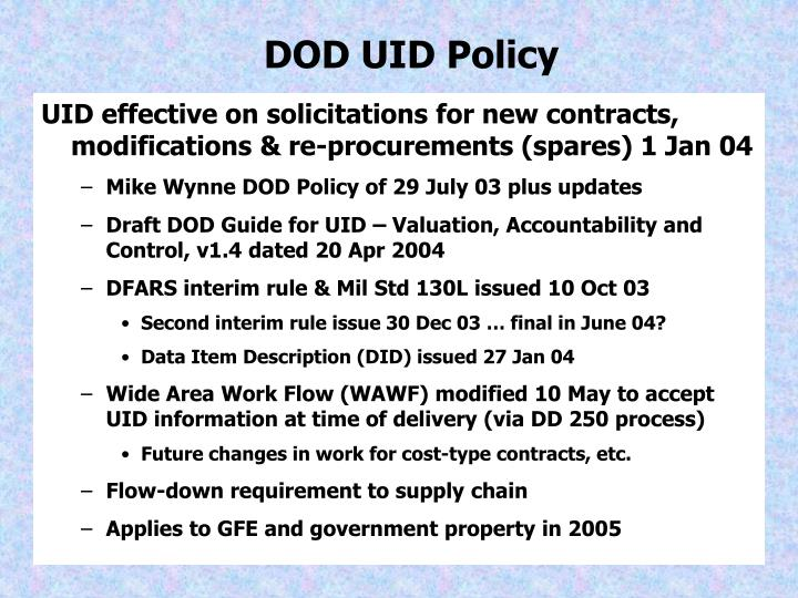 DOD UID Policy
