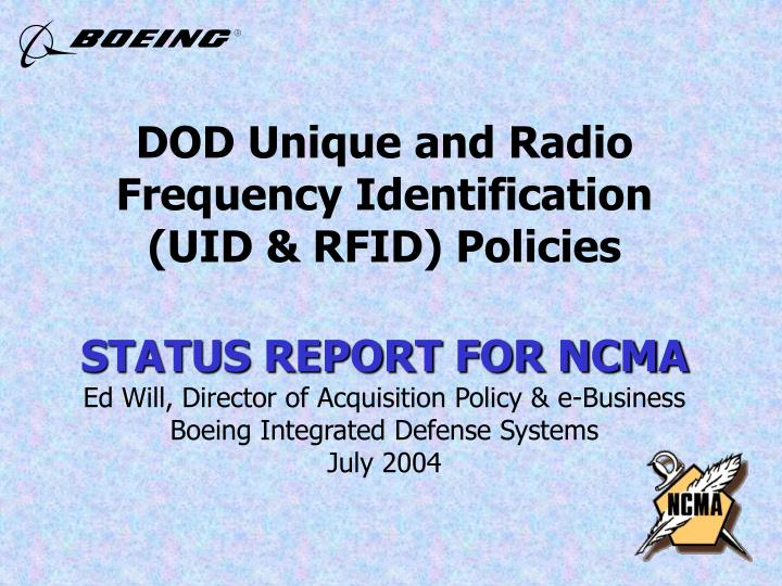 DOD Unique and Radio Frequency Identification